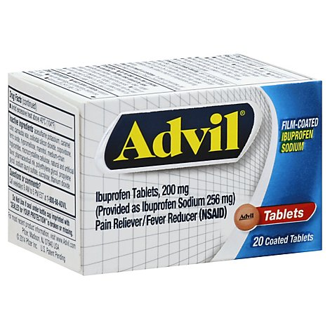 Advil Pain Reliever Fever Reducer Film Coated Tablet Ibuprofen Rapid Release Formula - 20 Count