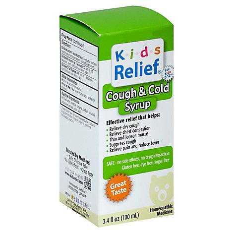 Homeolab Kids Relief Cough And Cold Fruit Syrup - 3.4 Fl. Oz.