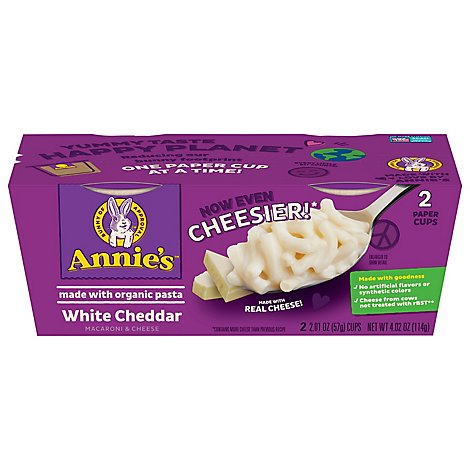 Annies Homegrown Macaroni & Cheese White Cheddar 2 Count Cup - 4.02 Oz