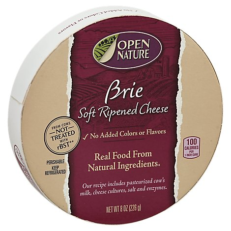 Open Nature Cheese Brie Soft Ripened - 8 Oz