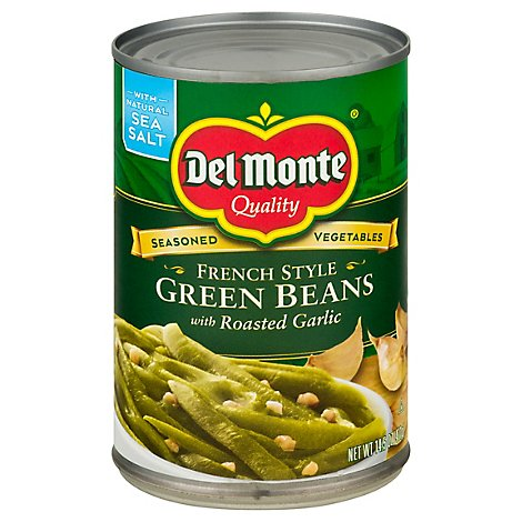 Del Monte Beans Green French Style with Roasted Garlic - 14.5 Oz