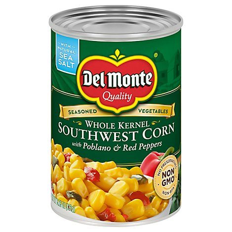 Del Monte Corn Whole Kernel Southwest with Poblano & Red Peppers - 15.25 Oz