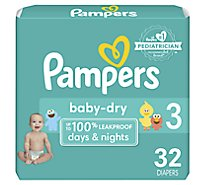 Pampers Baby Dry Diapers Size 3 (16-28 lb) Sesame Street - 32 Count