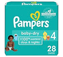 Pampers Baby Dry Diapers Size 4 (23-37 lb) Sesame Street - 28 Count