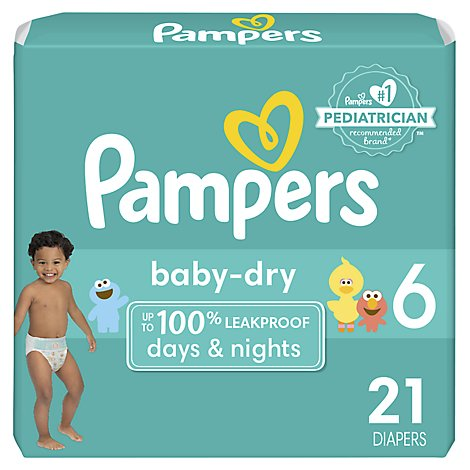 Pampers Baby Dry Diapers Size 6 (35+ lb) Sesame Street - 21 Count