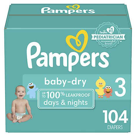 Pampers Baby Dry Diapers Size 3 (16-28 lb) Sesame Street - 104 Count