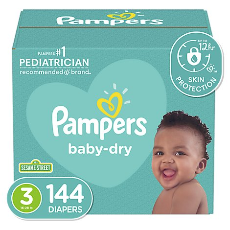 Pampers Baby Dry Diapers Size 3 - 144 Count
