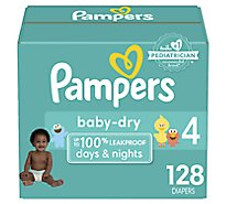 Pampers Baby Dry Diapers Size 4 (23-37 lb) Sesame Street - 128 Count