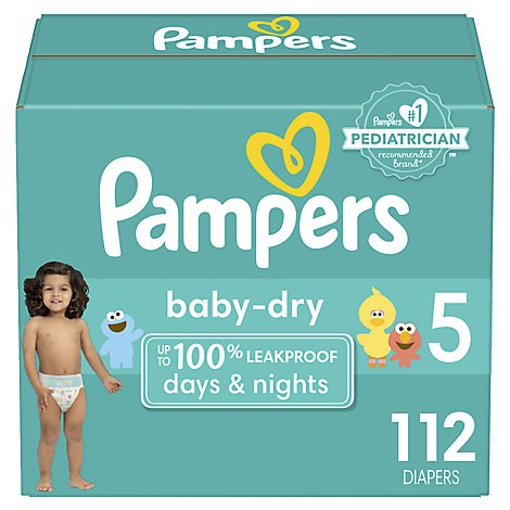 Pampers Baby Dry Diapers Size 5 (27+ lb) Sesame Street - 112 Count
