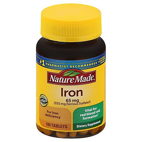 Nature Made Dietary Supplement Tablets Minerals Iron 65 mg - 180 Count