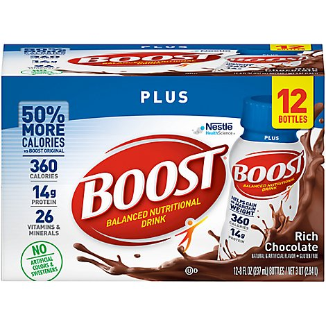 BOOST Nutritional Drink Plus Rich Chocolate - 12-8 Fl. Oz.
