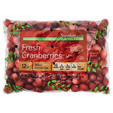 Signature Farms Cranberries Prepacked Bag Fresh - 12 Oz