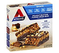 Atkins Snack Bar Peanut Butter Fudge Crisp - 5-1.2 Oz