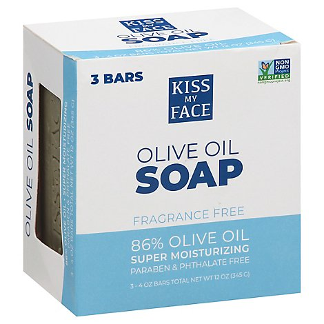 Kiss My Face 86% Pure Olive Oil Soap For Superior Moisturizing - 3-4 Oz