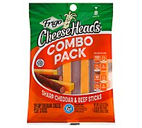 Frigo Cheese Heads Shrap Chedar & Beef Sticks - 6.33 Oz