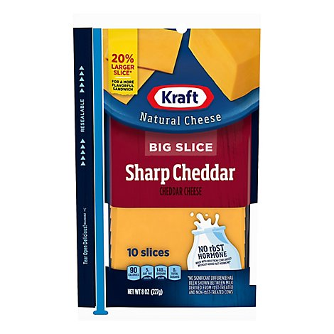 Kraft Natural Cheese Big Slice Sharp Cheddar - 8 Oz