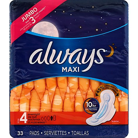 Always Maxi Pads Size 4 Overnight Absorbency With Wings Unscented - 33 Count