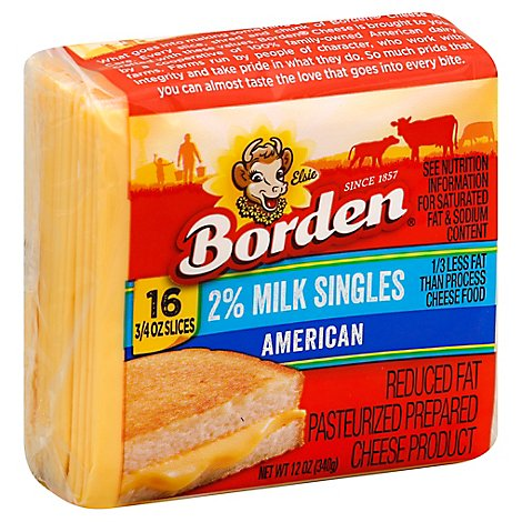 Borden Cheese 2% Individually Wrapped American Cheese Singles - 12 Oz