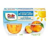 Dole Peaches Diced Yellow Cling No Sugar Added Cups - 4-4 Oz