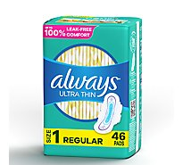 Always Ultra Thin Pads Regular Absorbency With Wings Size 1  Unscented - 46 Count