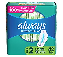 Always Pads Ultra Thin Size 2 Super Pads With Wings Unscented - 42 Count