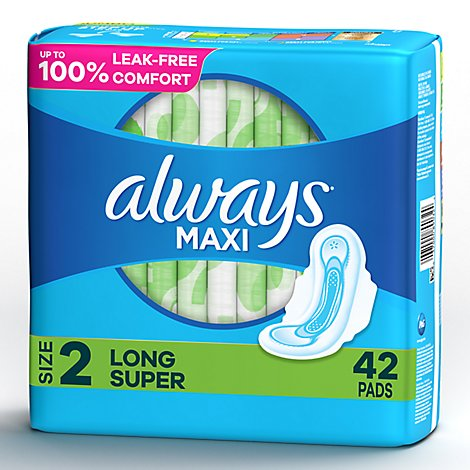 Always Maxi Pads Size 2 Super Pads With Wings Unscented - 42 Count