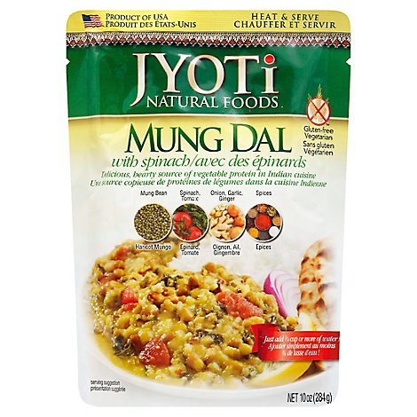 Jyoti All Natural Foods Mung Dal With Spinach - 10 Oz