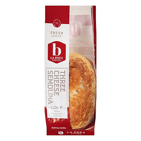 La Brea Bakery Three Cheese Semolina Loaf Bread - 16 Oz.