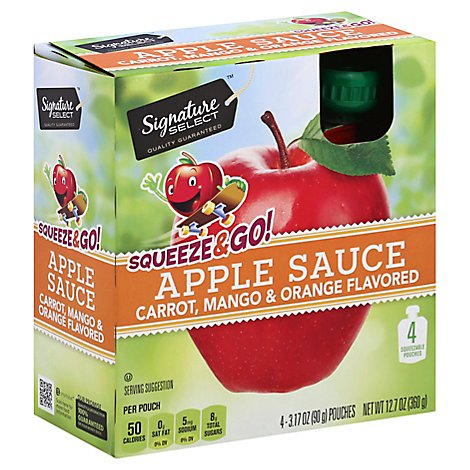 Signature SELECT Squeeze & Go Apple Sauce Carrot Mango & Orange Pouches - 4-3.17 Oz