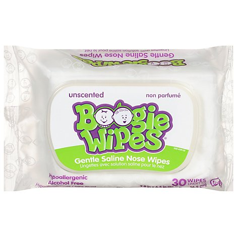 Boogie Wipes Saline Wipes Simply Unscented - 30 Count