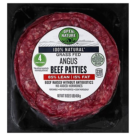 Open Nature Ground Beef Patties 85% Lean 15% Fat - 4 Count - 16 Oz.