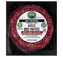 Open Nature Beef Ground Beef Patties 85% Lean 15% Fat 4 Count - 16 Oz