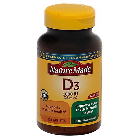 Nature Made Vitamin D Supplement Tablets D3 1000 IU - 300 Count