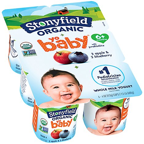 Stonyfield Organic Yobaby Yogurt With Probiotics Blueberry & Apple - 6-4 Oz