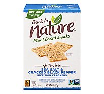 back to NATURE Crackers Rice Thin Gluten-Free Sea Salt & Cracked Black Pepper - 4 Oz