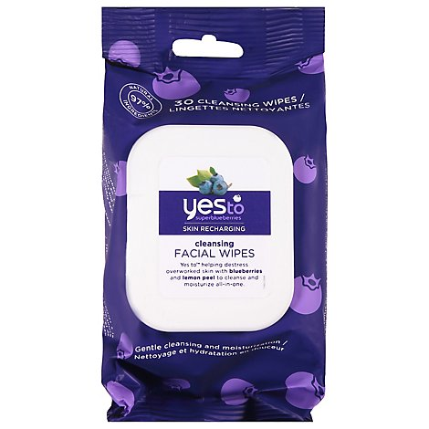 Yes To Blueberries Facial Wipes Cleansing - 25 Count