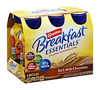 Carnation Breakfast Essentials Ready-To-Drink Bottles Rich Milk Chocolate - 6-8 Fl. Oz.