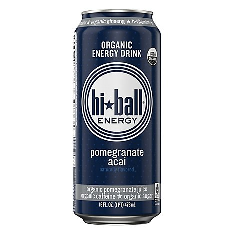 Hiball Energy Organic Energy Drink Pomegranate Acai - 16 Fl. Oz.