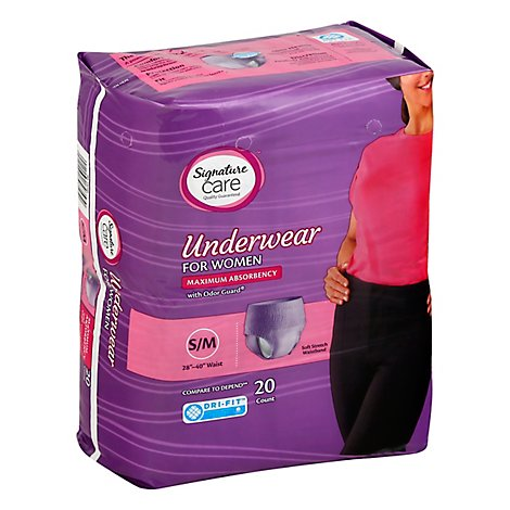 Signature Care Underwear For Women Maximum Absorbency S/M - 20 Count