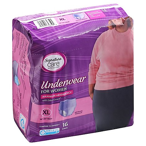 Signature Care Underwear For Women Maximum Absorbency XL - 16 Count