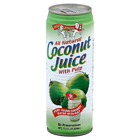 AMY & BRIAN Coconut Juice All Natural Pure Young with Pulp - 17.5 Fl. Oz.