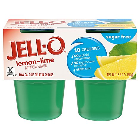 JELL-O Gelatin Snacks Sugar Free Lemon Lime 4 Count - 12.5 Oz
