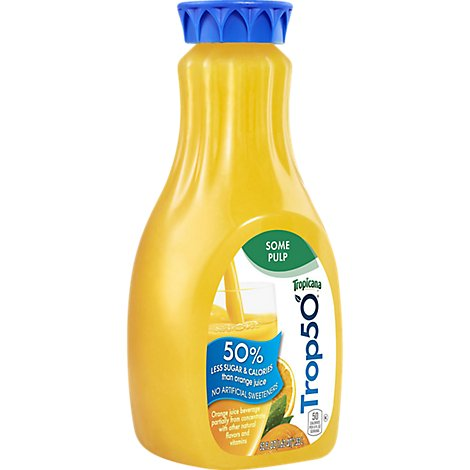 Tropicana Trop50 Orange Juice Homestyle Some Pulp Chilled - 52 Fl. Oz.