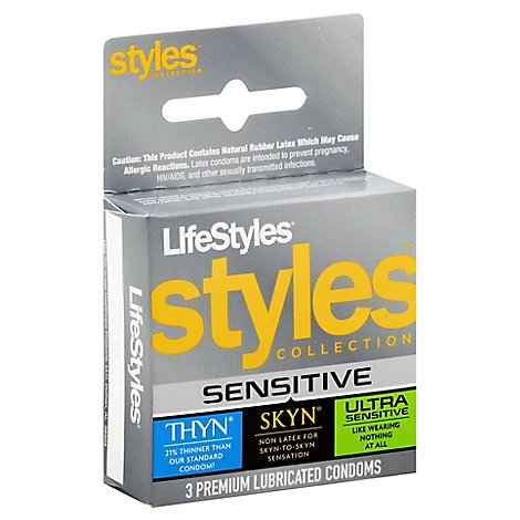 Lifestyles Styles Collection Sensitive Condoms - 3 Count