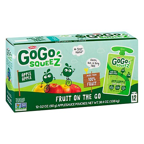 GoGo squeeZ Applesauce Apple Apple - 12-3.2 Oz