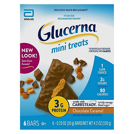 Glucerna Mini Treats Snack Bars Chocolate Caramel - 6-0.7 Oz