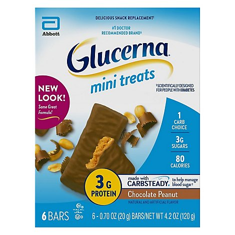 Glucerna Mini Treats Snack Bars Chocolate Peanut - 6-0.7 Oz