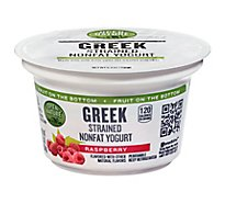 Open Nature Yogurt Greek Nonfat Strained Fruit on the Bottom Raspberry - 5.3 Oz