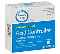 Signature Care Acid Controller Acid Reducer Famotidine 20mg Maximum Strength Tablet - 50 Count