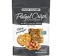 Snack Factory Pretzel Crisps Pretzel Crackers Thin Crunchy Deli Style Sea Salt & Pepper - 7.2 Oz